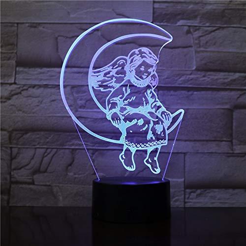 Lámpara de mesa 3D creativa luna princesa linda luz de noche LED multicolor decoración de acrílico regalo de la habitación de los niños