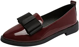 Creazrise Women's Penny Loafers Flat Low Heel Bow Tassel Patent Leather Slip On Shoes (Wine,8)