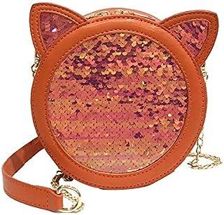 Adebie - Women Round Small Messenger Bag 2019 New Korean Cat Ear Cute Small Bag Fashion Sequins Handbag Shoulder Crossbody Chain Girl Bag Orange []