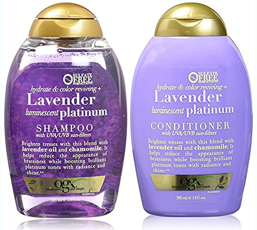 Organix Sulfate Free Hydrate & Color Reviving + Lavender Luminescent Platinum Shampoo 13 Oz and Conditioner 13 Oz 'Set'