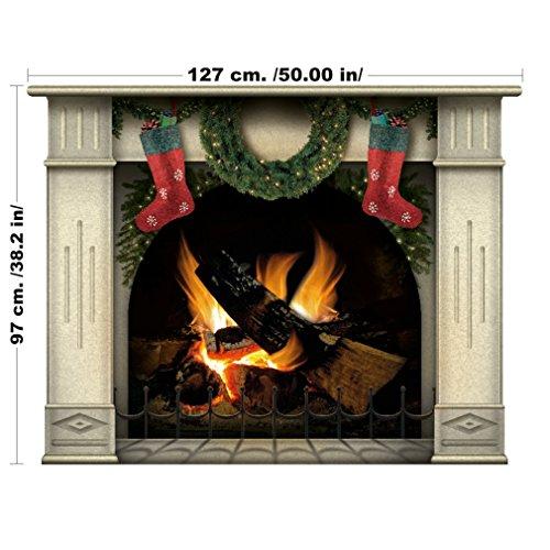 Camino di Natale con le calze pronte per Santa e regali - decalcomanie di alta qualità, arte a parete
