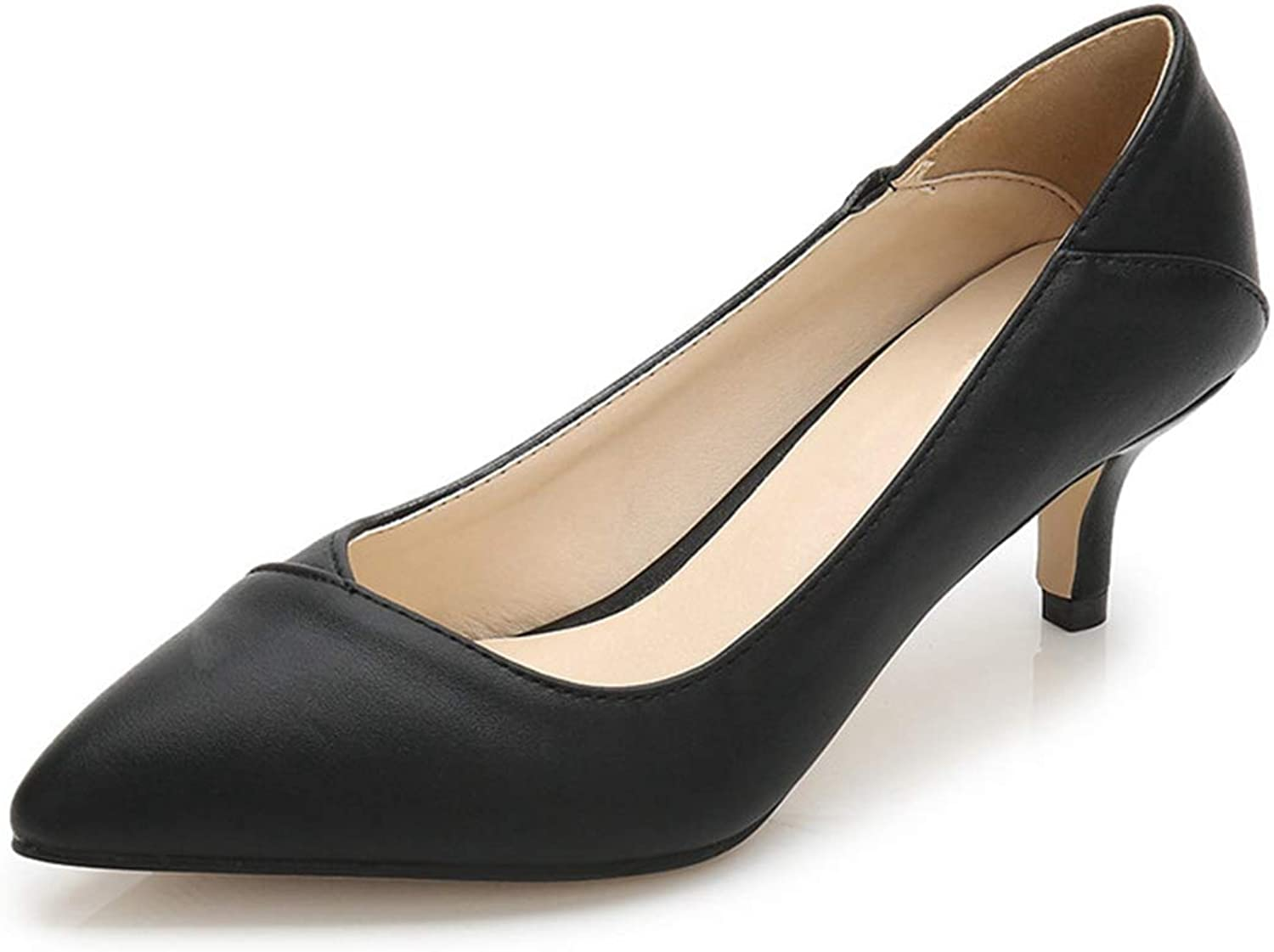 Owen Moll Women Pumps, Sexy Pointed Toe Leather Thin Med High Heel Bride Party shoes