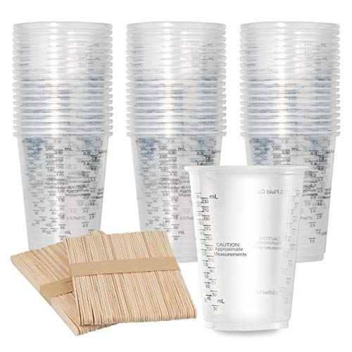 100pcs 8oz Graduated Clear Plastic Measuring Cups with 100pcs Wooden...