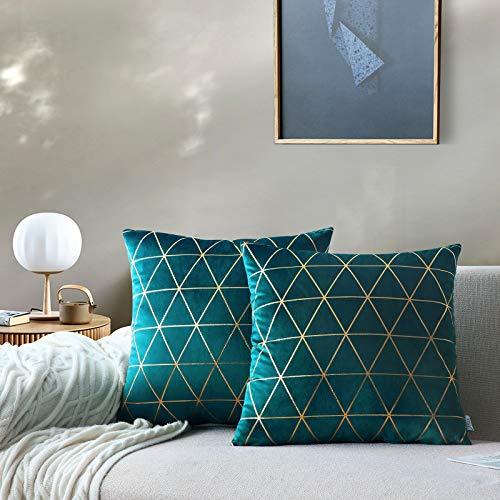 NordECO HOME Paquete de 2 Funda de cojín Cuadrado Estampado Dorado Suave Funda de Almohada para sofá Silla Cama Decorativa Moderna decoración del hogar Verde Azulado 45x45cm