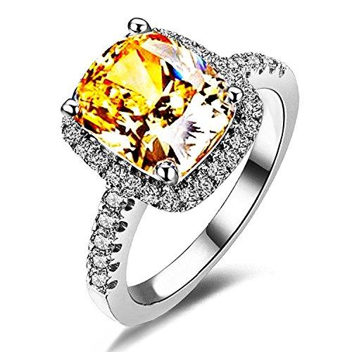 Wisslotus Yellow Topaz Rings for Women Citrine Gemstone Birthstone Cushion Cut Cubic Zirconia Wedding Engagement Bridal Ring Jewelry