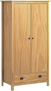 pedkit Armario de 2 Puertas Armarios de Salón Dormitorio Moderno Armario Ropero Hill Range Madera Pino Blanco 89x50x170cm