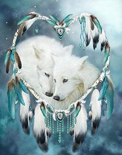 CDNY Atrapasueños Lobo animal-5D DIY Pintura Diamante-de Cristal, Bordado de Punto de Cruz, Lienzo-para Adultos Niños Decoración de la pared40x50cm