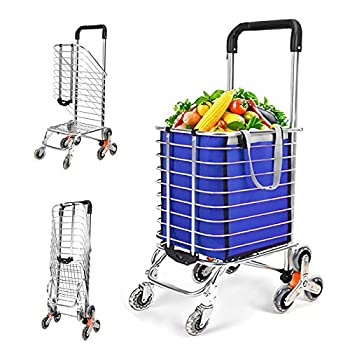SURPCOS Step Up Foldable Grocery Shopping Cart Dolly – Stair Climber Utility Trolley Tote Bag  XL Quiet Rubber Wheels Blue