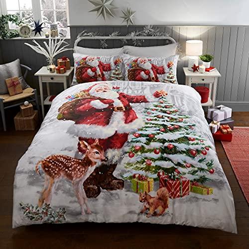 Sleepdown Set Copripiumino con federe, Double-Face, per Letto Matrimoniale, 200 cm x 200 cm, Motivo: Babbo Natale, Policotone, Bianco, Doppio