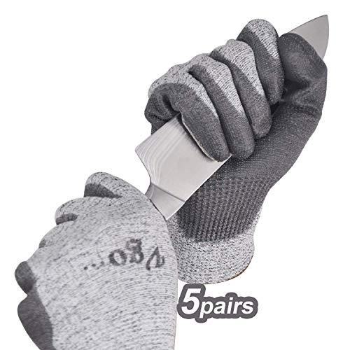 Vgo 5 paia, guanti da lavoro, guanti da giardinaggio, guanti da cucina resistenti al taglio, protezione di livello 5, certificato EN388 (8/M, Grigio)