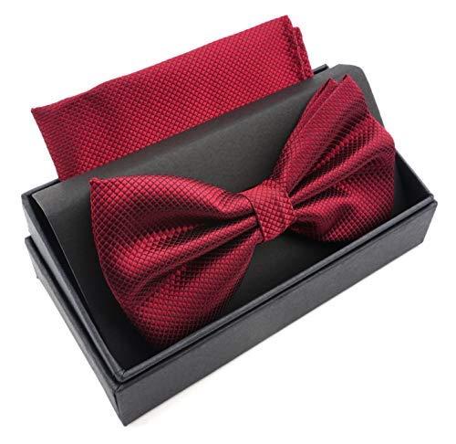 Massi Morino Fliege mit Einstecktuch für Herren I Verstellbare Premium Fliege I Hochwertiges Geschenk Set (Weinrot)