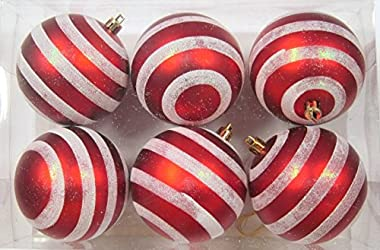 """Queens of Christmas 6pk Red and White Line Design 6 Pack Striped Ball Ornament, 4"""""""
