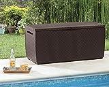 PATIO STORAGE BOX 80 GALLON OUTDOOR STORAGE BOX ALL-WEATHER DESIGN DECK BOX WATERPROOF 2 WHEELS FOR EASY MOVEMENT