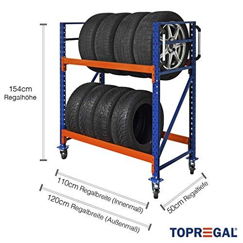 Reifenregal, Felgenwagen, Reifenwagen fahrbar 120cm breit, 154cm hoch, 50cm tief mit 2 Ebenen