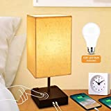 Dimmable 3-Way Touch Control Bedside Lamp,Cotanic Modern Table Lamp with USB Charging Ports,Square