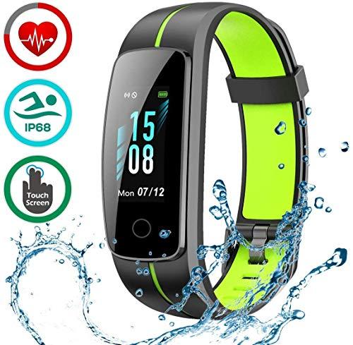 LATEC Pulsera Actividad [Última Versión], Pulsera de Actividad Inteligente Pantalla Color Reloj con Pulsómetro Impermeable IP68 Podómetroómetro-Pantalla Deslizante