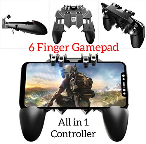 YouFirst Pubg Mobile Controller [6 Dedo Gamepad/Upgrade Version] Mobile Game Controller, L1R1 Trigger/Rules of Survival/Survivor Royale/Free Fire/Knives out