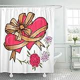 N\A Cortina de baño Tejido de poliéster Impermeable Dos Corazones Atados Cinta de Lazo y Flores para el día de San Valentín Set con Ganchos Cortinas de baño Decorativas