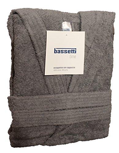 Bassetti Time Bademantel mit Kapuze, Unisex, erhältlich in den Größen S, M, L, XL, XXL, Material: Mikrofrottee aus 100% Baumwolle, 360g/m² L - 50 / 52 GRIGIO - 1720