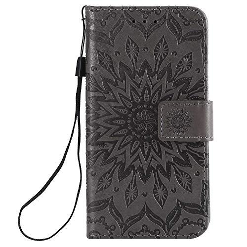 KKEIKO Hülle für Galaxy J2 Core, PU Leder Brieftasche Schutzhülle Klapphülle, Sun Blumen Design Stoßfest HandyHülle für Samsung Galaxy J2 Core - Grau