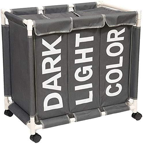 ZUOAO Cesto de la Ropa con 3 cestas de Ropa Sucia, Cesta de Almacenamiento de luz Multi-Funcional para la Ropa Sucia, Dormitorio, Cuarto de baño, lavadero, Dark Gray