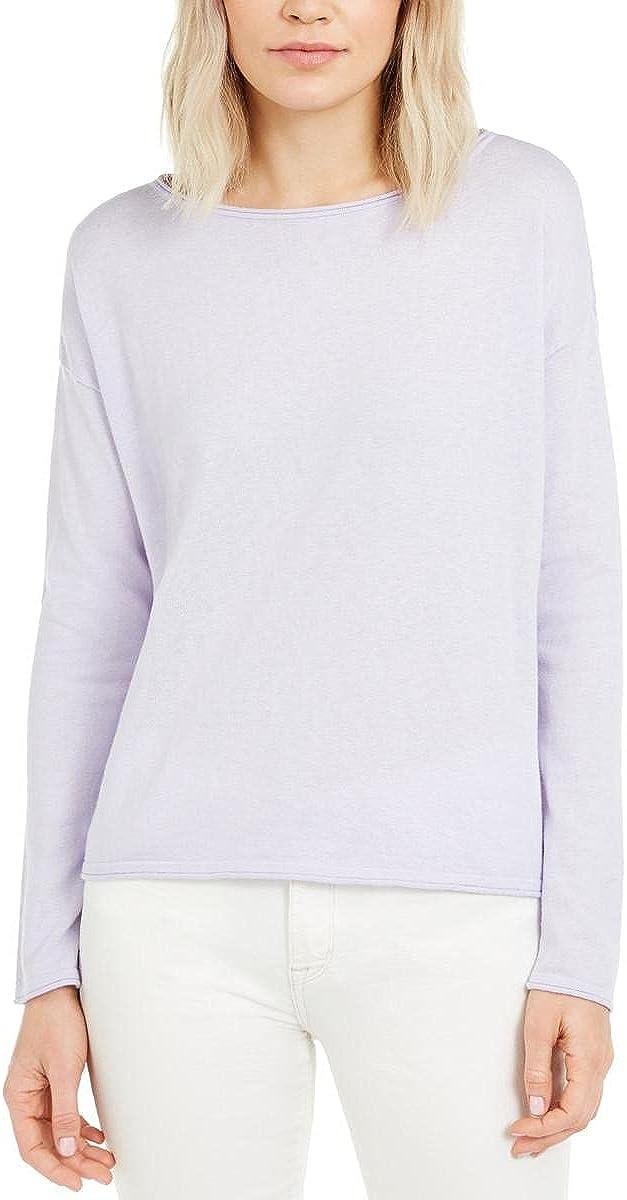 Eileen Fisher Womens Petites Organic Cotton Bateau Neck Sweater
