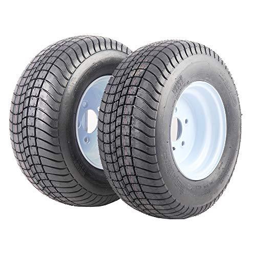 Two Trailer Tires and Rims 20.5x8.0-10 6PR P825 LRC 5 Lug White Wheels 205/65-10 Bias Tire