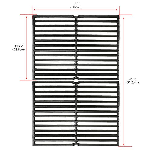 Uniflasy 15 Inch Cast Iron Grill Cooking Grid Grate for Weber Old Spirit 200 Series, Spirit E/S 200 & 210 with Side Control Panel, Spirit 500, Genesis Silver A, for Weber 7522, 7523 7521 65904 65905 Barbecue Grates Grids Grilling Utensils