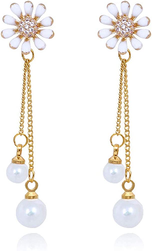 Clip on Dangle Earrings Flower Long Tassel Created Pearl Rhinestone Drop Gold Plated Fashion Women Girl