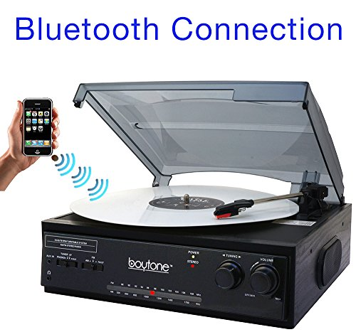 Boytone BT-13B with Bluetooth Connection 3-Speed Stereo Turntable Belt Drive 33/45/78 RPM, 2 built in Speakers AM/FM Stereo Radio, 3.5mm Headphone Jack/ Axillary, RCA Jack, 45 Rpm Adapter Included
