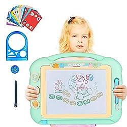Etmury Magnetische Maltafel Zaubertafeln, Tragbar Magnettafel Zaubermaltafel Zeichenbrett mit 3 Form Stempeln 2 Magnetbürste 15 Module, Löschbar Gekritzel Skizze Kindergeschenk für 3 4 5 Jahre alt