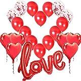 Kit Romántico de Globos, Globo Love XXL Helio o Aire,6 Globos Corazón Rojo,4 Globos de Confeti,10 Globos de látex Decoración Romantica Día de San Valentín Bodas Nupcial Aniversario y Compromiso