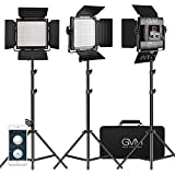 GVM 3 Pack LED Video Lighting Kits with APP Control, Bi-Color Variable 2300K~6800K with Digital Display Brightness of 10~100% for Video Photography, CRI97+ TLCI97 Led Video Light Panel +Barndoor