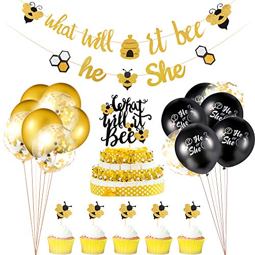 23 Pieces Gender Reveal Party Decorations Set, What Will it Bee Banner He or She Banner Confetti Latex Balloons and Bee Cake Topper for Party Supplies