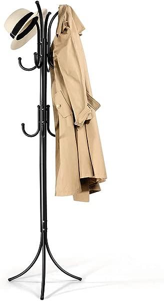Cozzine Coat Rack Coat Tree Hat Hanger Holder 11 Hooks For Jacket Umbrella Tree Stand With Base Metal Black