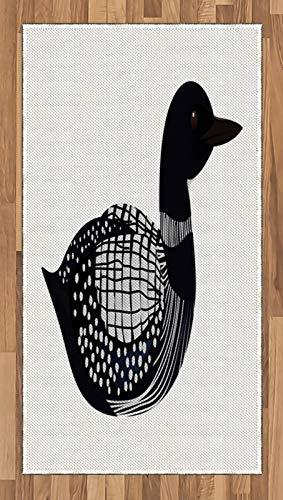 ABAKUHAUS fuut Tapijt, Doodle Getrokken Vogel met Motieven, vlak Geweven Vloerkleed voor Woonkamer, Slaapkamer, Eetkamer, 80 x 150 cm, Night Blue Gray