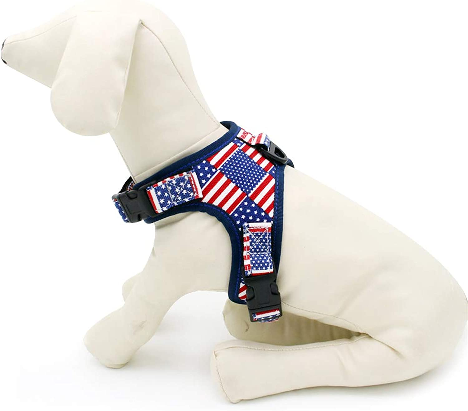 AIYOHE Dog Harnesses American Flag Pet Harness Adjustable Outdoor Pet Vest for Small, Medium Dog, Perfect for Daily Training Walking Running (L(22.8 30.7  Chest Girth))