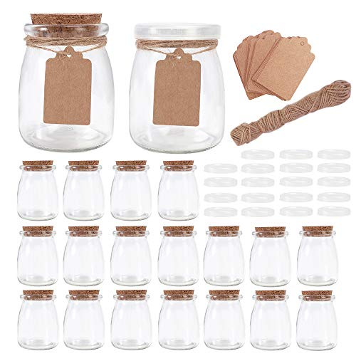 Betrome 7oz Glass Jars, 20 Pack 200ml Yogurt Jars with PE Lids and Cork Lids, Clear Pudding Jars Glass Favor Jars Containers for Spice, Jam, honey, Wedding Favors, DIY and Art