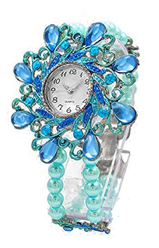 Damenuhr türkis Analoges Quarz Uhrenwerk Flexibles Perlen-Armband