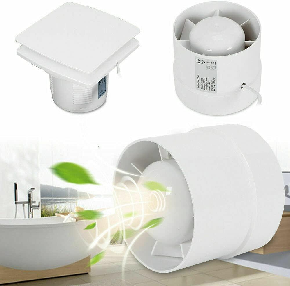 Ventilador extractor en línea (125 mm, 240 m3/h, silencioso, 34 dB), para baño, inodoro, cocina, invernadero, tienda de campaña, garaje