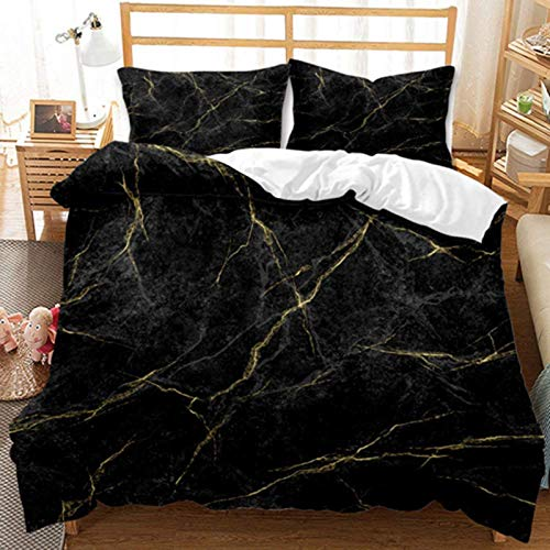 HJSM - Juego de cama de adulto con fundas de edredón estampadas con cremallera, funda de edredón de microfibra con 2 fundas de almohada (negro, 220 x 240 cm)