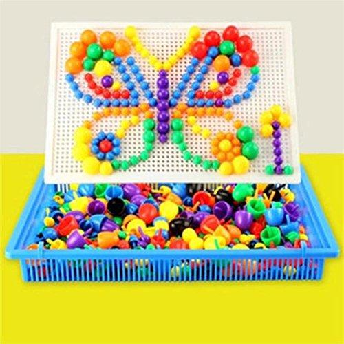 EQLEF Clous de Champignon Puzzles Creative Jouets éducatifs pour Les Enfants Un Ensemble de 296 Clous-Couleur aléatoire