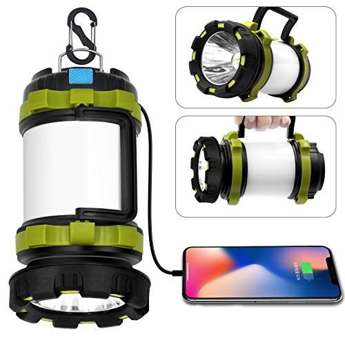 Wsky LED Camping Lantern Rechargeable, T2000 High Lumen Light Flashlight, 6 Modes, High Capacity Power Bank - Best Lantern Flashlight for Camping Outdoor Hurricane Emergency Everyday Light Flashlight