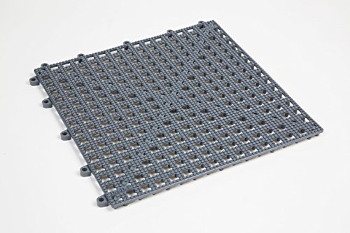 Dri-Dek 1'x1' Interlocking Tiles - Flexible Patio, Porch, Lanai, Balcony, Basement & Pool Deck Flooring (1'x1' Tiles - 12-Pack, Gray)
