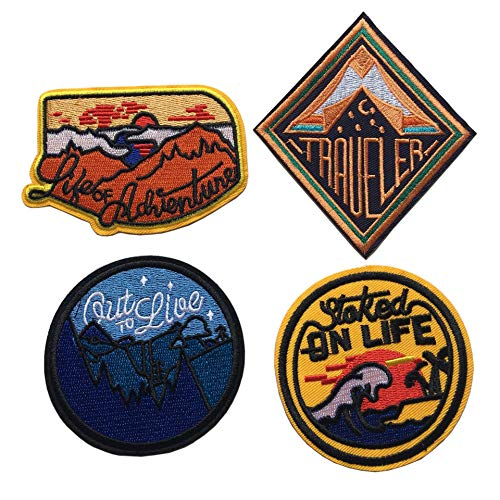 Traveler Iron On Patches - Perfect for Backpacks and Clothing - for Your Type of Fun Adventure, Outdoor, Hiking, Travel Embroidered Sew or Iron-on Patch (D-Bundle 4 Pcs)