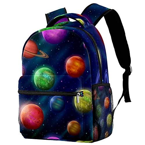 Yuanmeiju Espacio Planetas y lunas fantásticos Patrón de azulejos Mochilas escolares Mochilas escolares