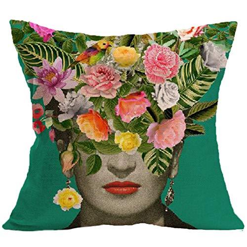 Geeignet für Frida Kahlo Kissenbezug Mexikanischer Maler Selbstporträt Muster Baumwolle Leinen dekorativer Kissenbezug Autositzbezug, verwendet für Sofa und Bett 45cmx45cm Wurfkissen