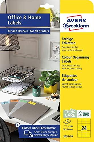 AVERY Zweckform 3451-10 Gelbe Etiketten (240 Aufkleber, 70x37mm auf A4, FSC, selbstklebende Farbetiketten, Papier matt, bedruckbare, farbige Klebeetiketten, ideal fürs HomeOffice) 10 Blatt