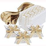 50 Pièces Boîtes de Faveur de Mariage d'oreiller, Boîte à Dragées en Papier Kraft, Kit avec des Rubans d'or, pour Les Faveurs de Mariage Fournitures de Fête d'anniversaire de Douche (Blanc, Or)