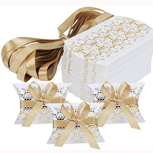 50 Stück Kissen-Form-Hochzeits-Geschenkboxen, Geschenkbox aus Kraftpapier, Süßigkeiten-Box, Kit mit Goldenen Bändern, für Hochzeitsbevorzugungen Babyparty Geburtstagsfeierzubehör (Weiß, Gold)